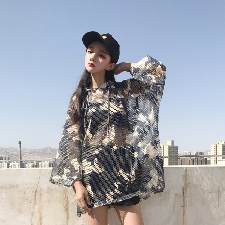Heart knitting chic Korean loose T-shirt womens new summer camouflage hooded sunscreen top trend