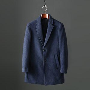 豆子撤柜单男式羊毛西服领呢子大衣