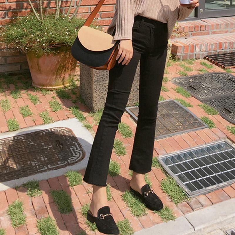 2020年新款夏季薄款高腰黑色微喇叭裤子牛仔裤女八分九分宽松直筒图片