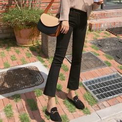 2020秋冬新款高腰加绒加厚黑色微喇叭牛仔裤女九分宽松显瘦小个子