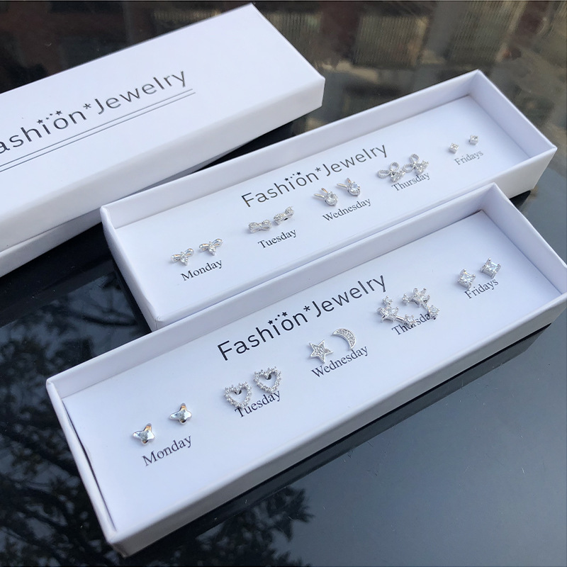 S925 pure silver needle gift box set one week Earrings campus style pearl earrings female Zircon Earrings earrings earrings