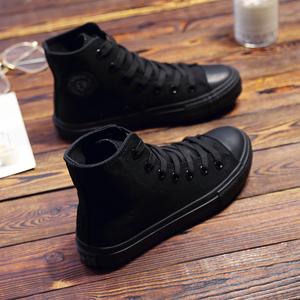 环球全黑色高帮纯黑帆布鞋女单鞋