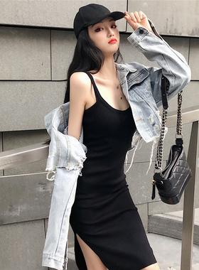 春装2021新款吊带裙时尚套装两件套针织性感女装中长款连衣裙女夏