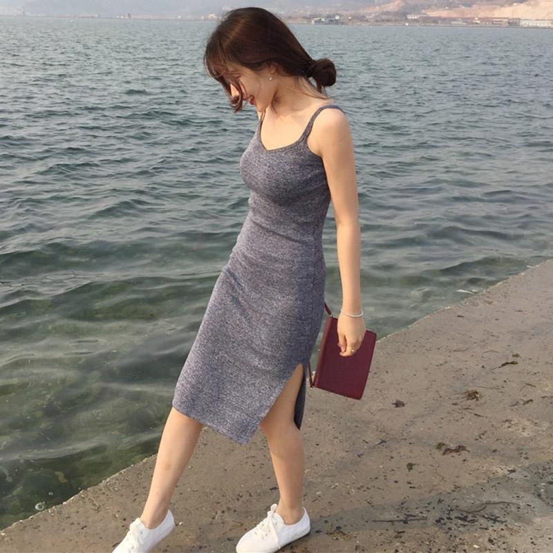 中长款子女夏修身性感包臀吊带裙