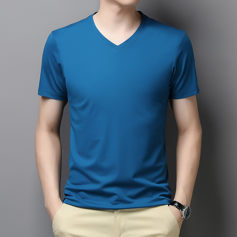 Lakey / Lexy short sleeve t-shirt mens round neck solid color half sleeve top summer t-shirt mens fashion silk
