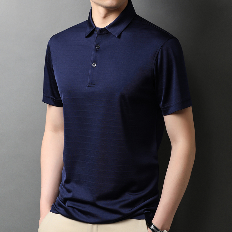 Lakey / Lexy short sleeve t-shirt mens summer shirt collar mulberry silk polo shirt breathable big tide