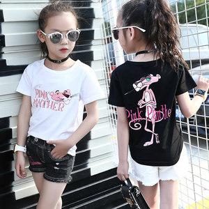女童半袖t恤洋气夏款纯棉短袖卡通韩版潮百搭儿童白色黑色打底衫