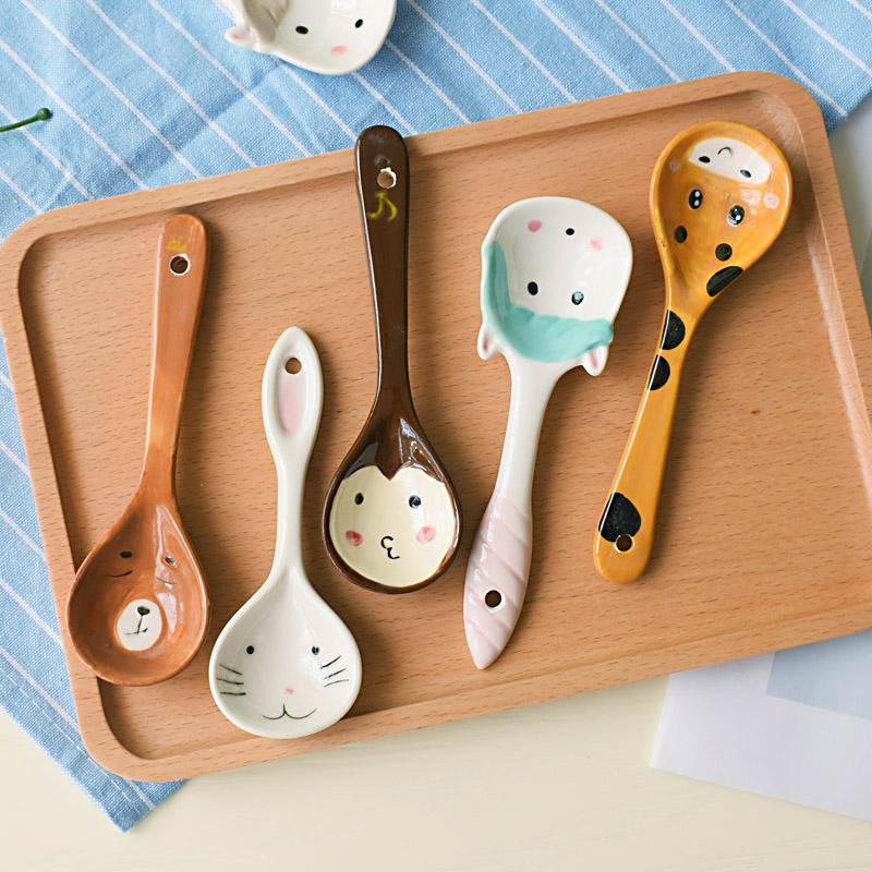 个性卡通动物成人喝汤勺创意家用日式少女心可爱猫咪儿童陶瓷调羹图片