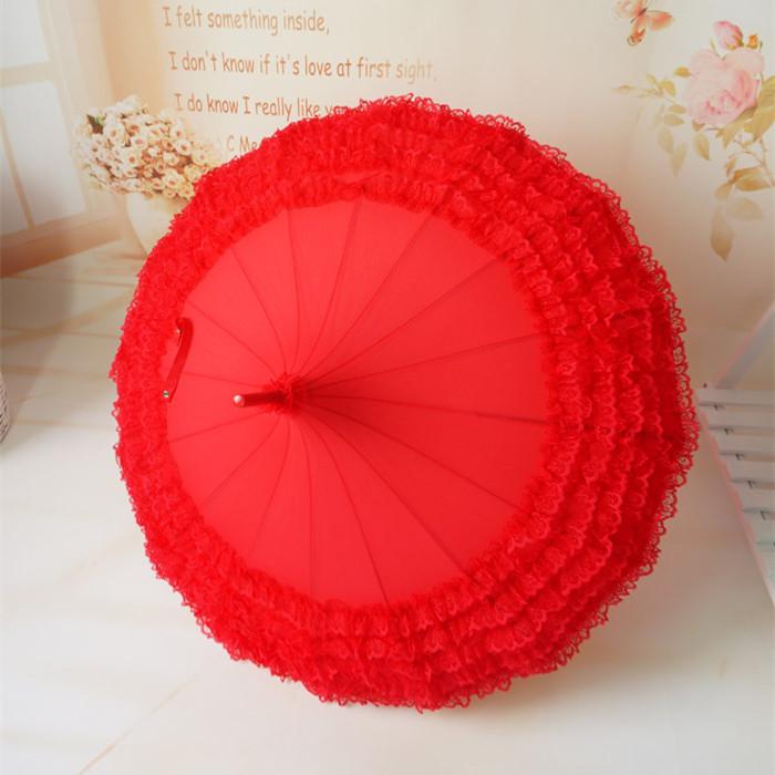 新娘伞蕾丝花边结婚伞大红色晴雨伞婚庆伞长柄复古韩国公主伞包邮