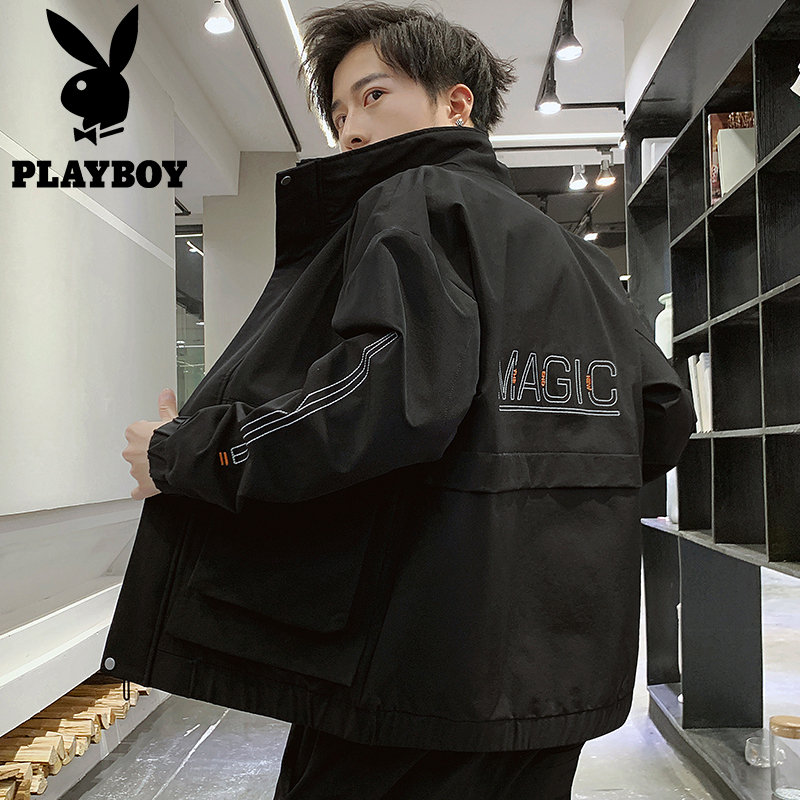 Playboy stand-up collar tooling jacket men's spring and autumn Korean version of the trend of loose versatile jacket functional wind men's