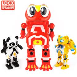 灵动创想快乐酷宝全套蛙王熊蝙蝠猩猩男孩玩具变形