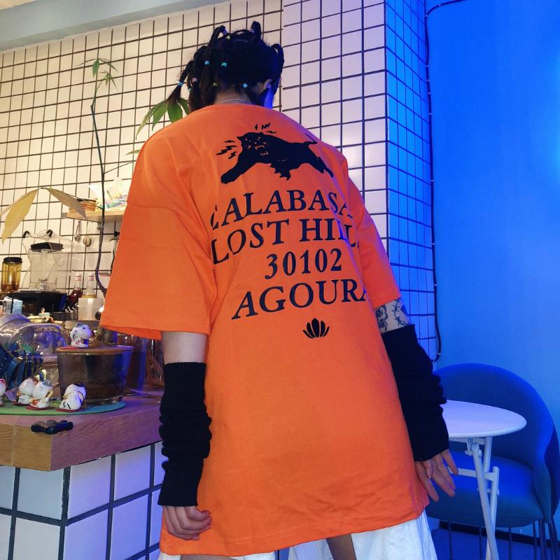 GRKC潮牌卡拉巴斯T恤短袖橙色男女情侣嘻哈宽松oversize街头ins潮