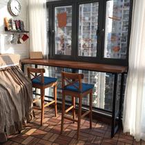 實木吧臺桌家用陽臺靠墻高腳吧臺桌北歐酒吧吧臺桌椅組合玄關隔斷
