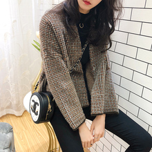 New Winter Short Chequered Mink Suede Short Suit Female Short Style Lazy Wind Open-top Sweater Trend