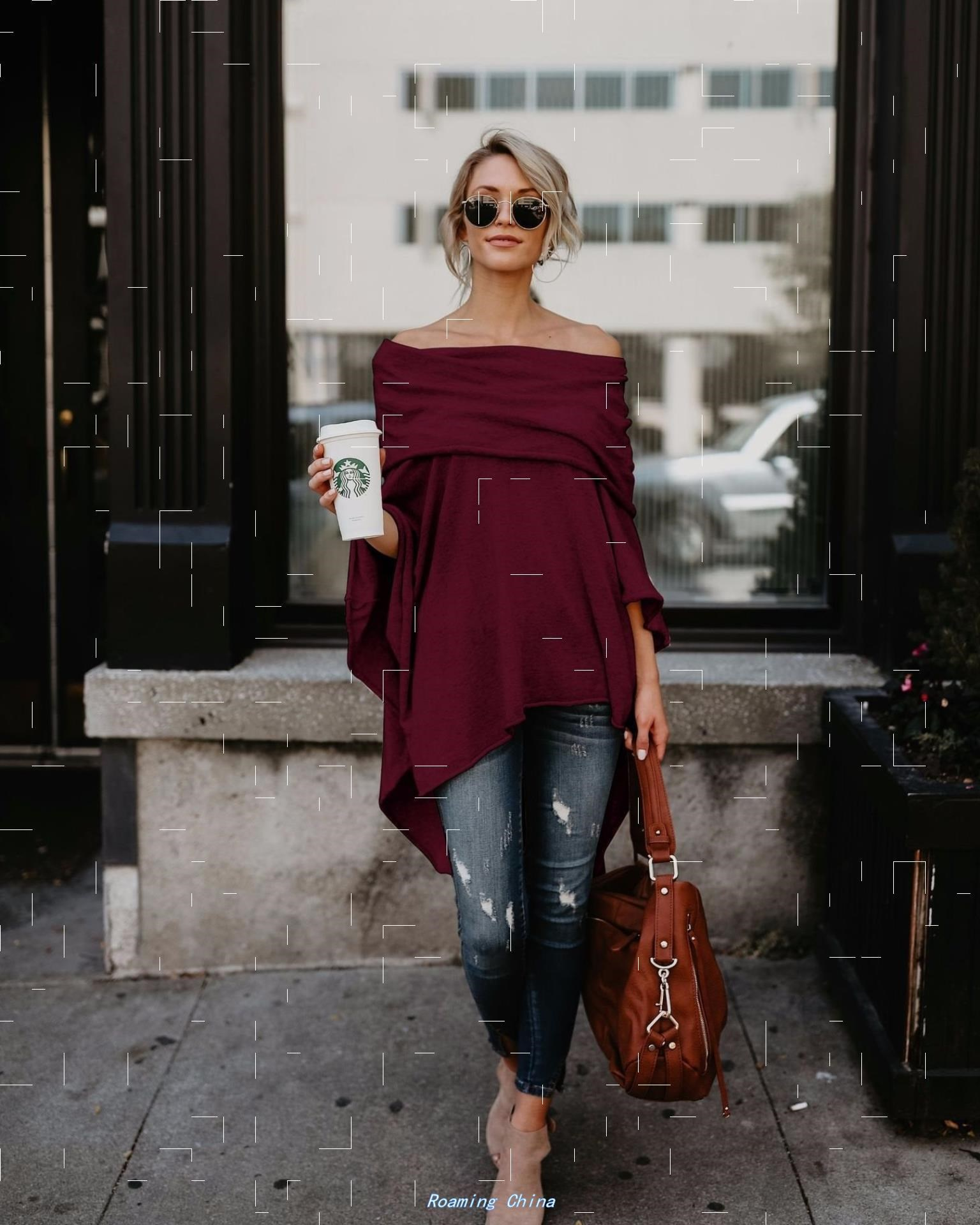 classic fashion女装 off shoulder sexy casual Tops loose T恤