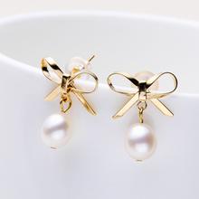 白色珍珠蝴蝶结网红高级感耳钉ES408预特限
