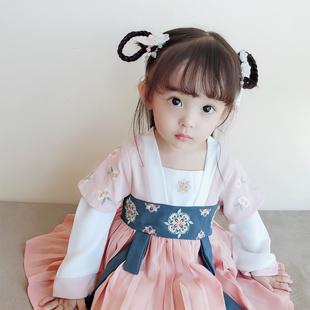 女宝宝汉服春秋小童古装 复女童唐装 中国风儿童襦裙超仙婴儿连衣裙