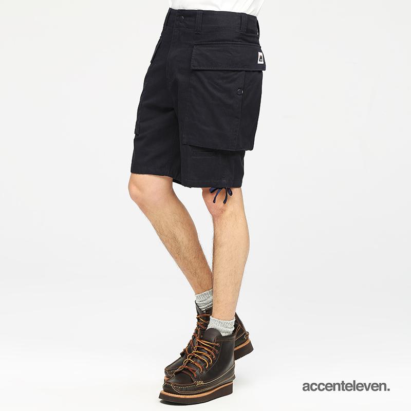 Accent Eleven时尚休闲立体大口袋斜纹抽绳直筒工装短裤男K182