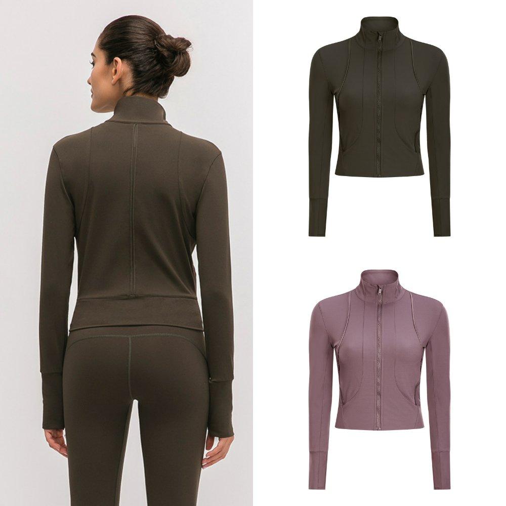 LuLu运动夹克秋冬短款长袖瑜伽外套女立领拉链开衫跑步健身服上衣