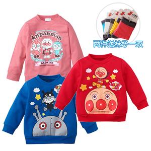 2021新品纯棉加绒秋冬面包超人童装男童女童抓绒长袖绒衫儿童卫衣
