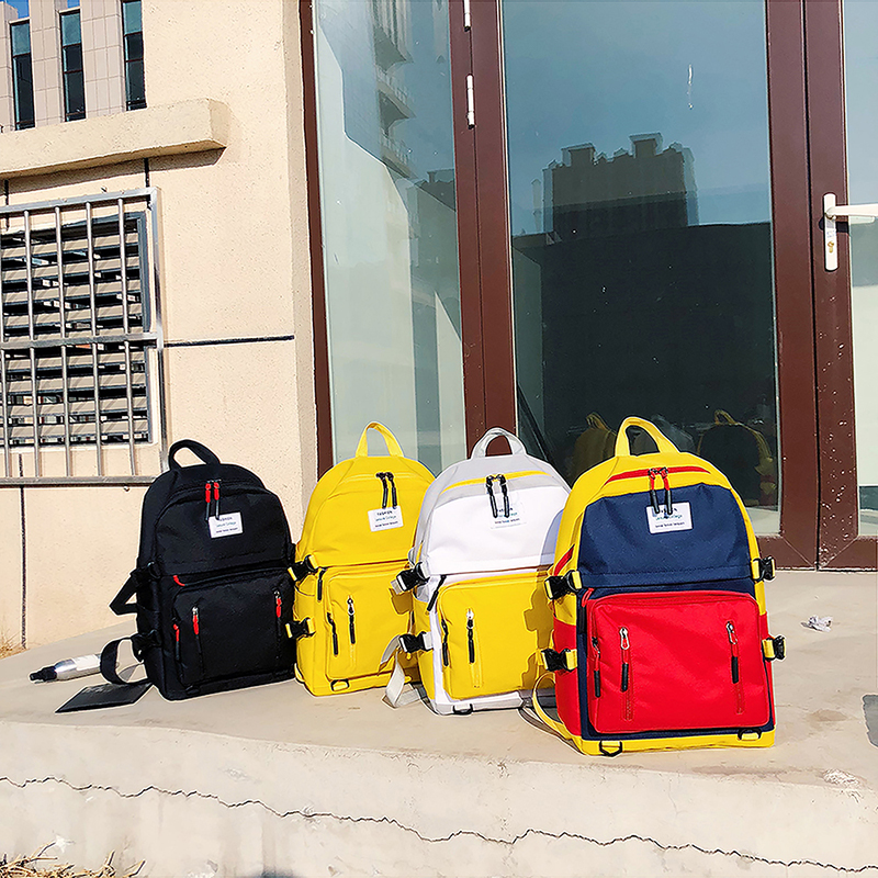 Summer new leisure color contrast backpack youth colorful vitality Travel Backpack campus style versatile college students schoolbag