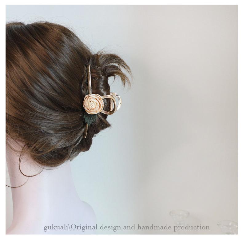 GUKUA LI小姐香槟玫瑰花朵抓夹女夹子头饰发夹马尾夹气质韩国发饰