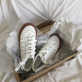 「Mon Cher」复古棕底 chic百搭韩系小白鞋 港风平底低帮帆布鞋。