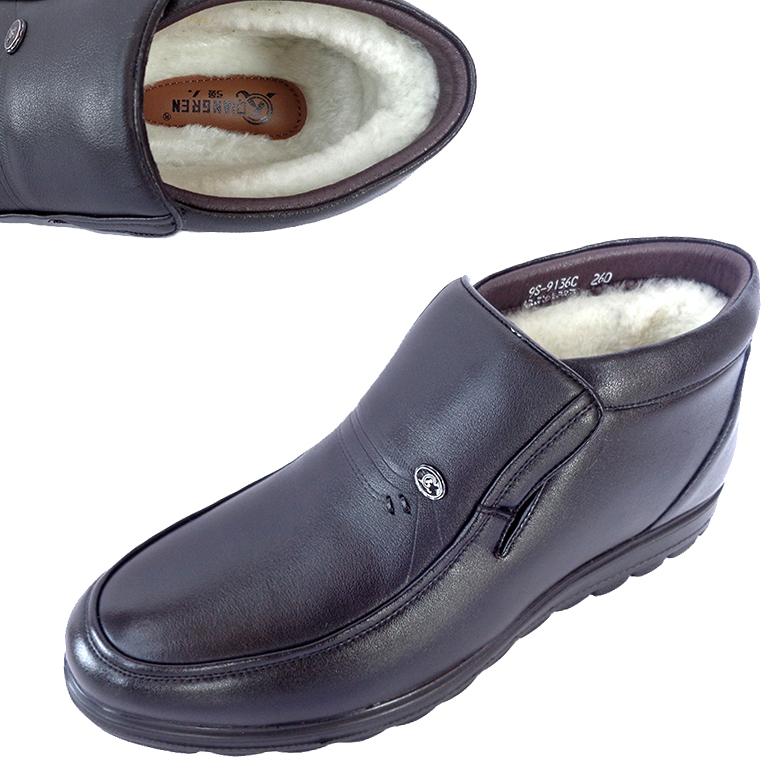 特价强人正品男式冬季休闲高帮爸爸皮鞋软底真皮保暖羊毛鞋纯牛皮