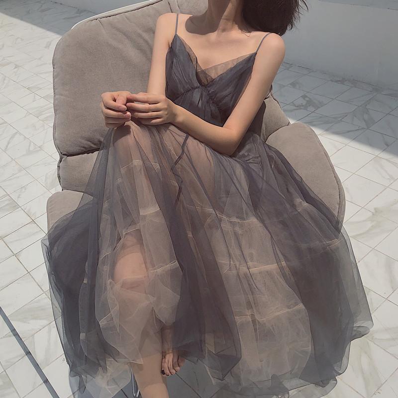 沙滩裙女海边度假超仙甜美纱裙抖音仙女裙chic温柔网纱吊带连衣裙