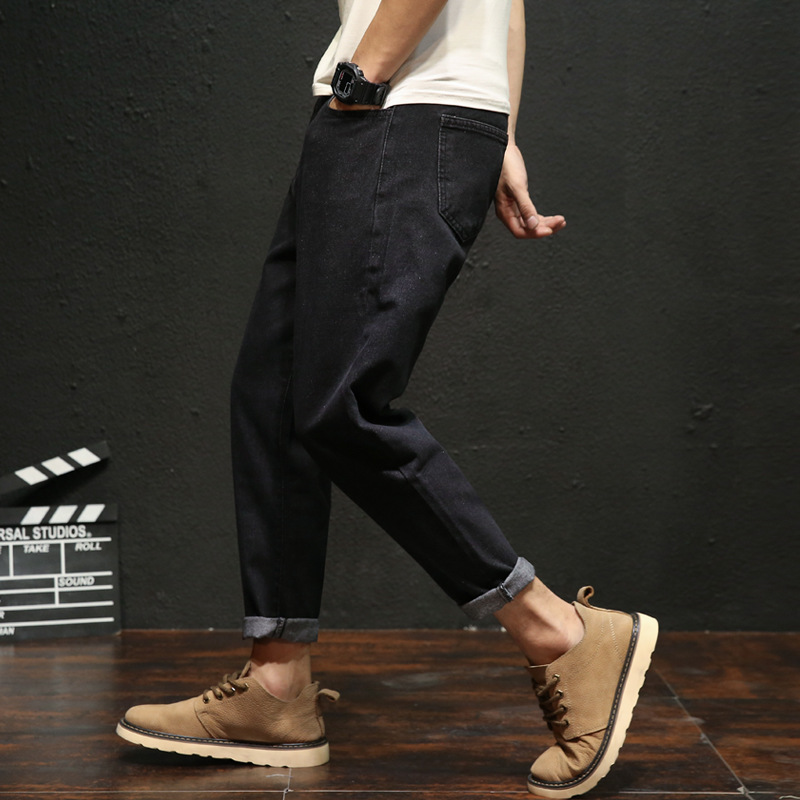 Harajuku jeans mens loose and trendy Korean versatile students 9-point BF style personality trend Harlans pants with thick legs