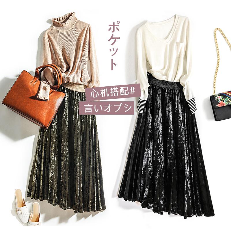 New autumn winter elastic waist gold velvet velvet skirt mid length high waist pleated skirt
