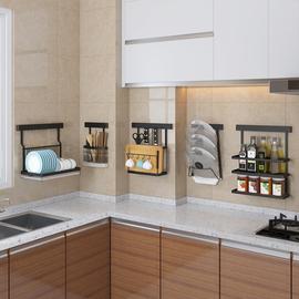 黑色款不锈钢厨房置物架壁挂式调料架砧板菜板收纳架小户型神器图片