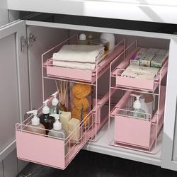 厨房收纳架多功能台面家用抽拉式分层储物橱柜内用品下水槽置物架