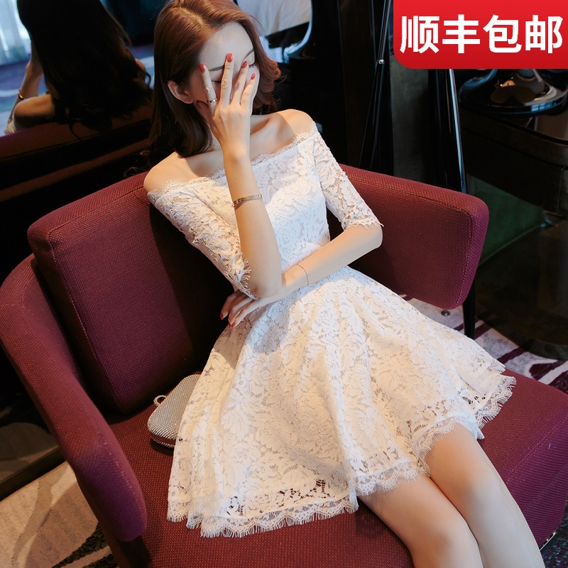 Usually can wear small dress 2020 new spring dress female lace white off shoulder one shoulder dress summer
