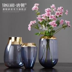 唐朝家居 简约现代透明玻璃花瓶摆件 客厅餐桌插花轻奢金属装饰品