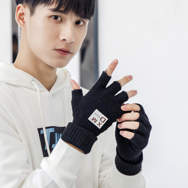 Mens Half Finger Gloves Winter wool missing fingers warm young students versatile fashion Japanese and Korean stickers simple points