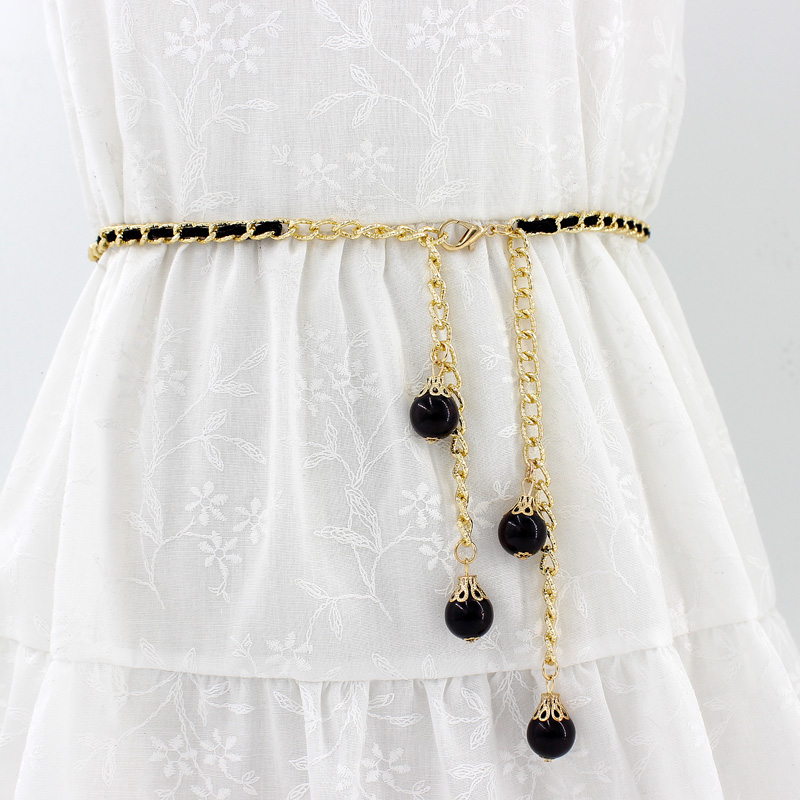 Womens metal waist chain hook pearl decoration fashion hundred matching skirt fur small belt sweet girdle skirt belt