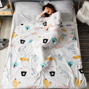 旅行隔脏睡袋便携式单双人水洗棉床单被罩旅游住宾馆酒店防脏被套