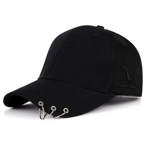 帽子春秋季新款男女潮牌韩版棒球帽黑色嘻哈帽学生街头铁环鸭舌帽