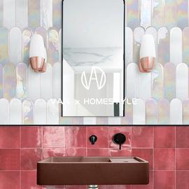 梵内 ins网红幻彩羽毛卫生间浴室墙砖 北欧餐厅厨房手工异形瓷砖图片