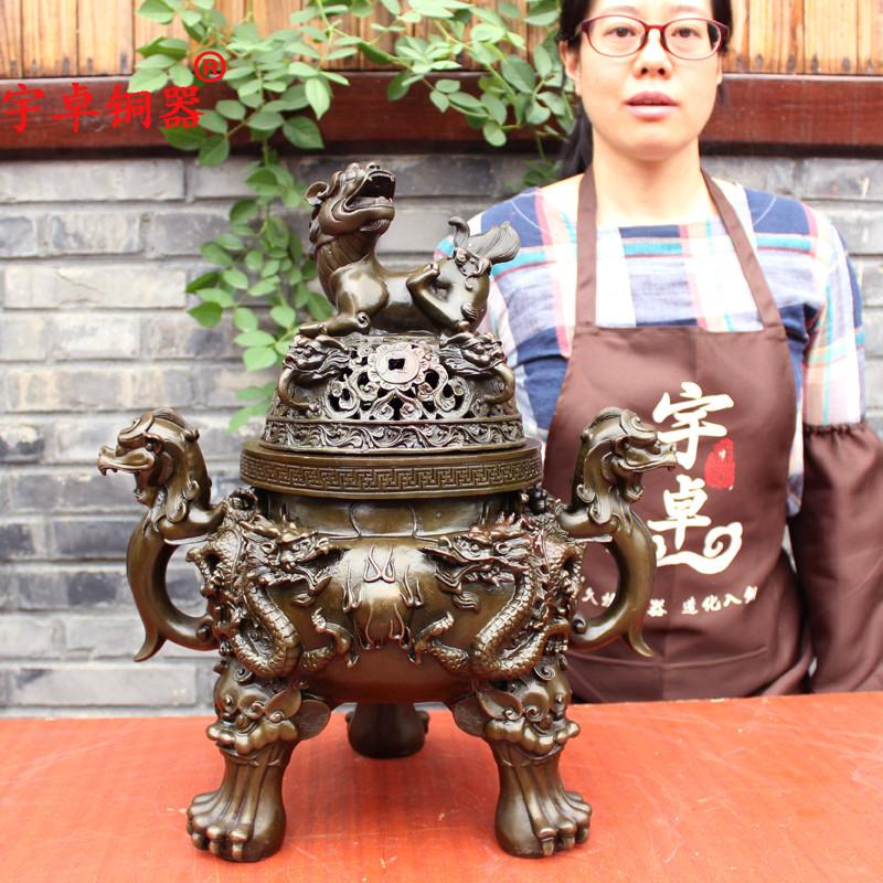 宇卓铜器纯铜香炉黄铜香炉铜双龙戏珠香炉貔貅 熏香炉工艺品摆件