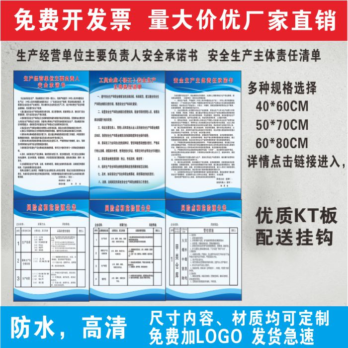 Enterprise safety commitment safety production main responsibility list poster risk point and hazard announcement identification