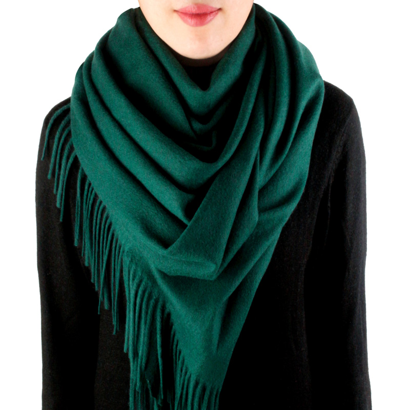 Solid color wool scarf for women winter thickened warm lamb Cashmere Shawl autumn and winter versatile wine red ink green
