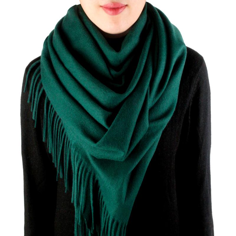纯色羊毛围巾女冬季加厚保暖羔羊绒披肩秋冬款两用百搭酒红墨绿色
