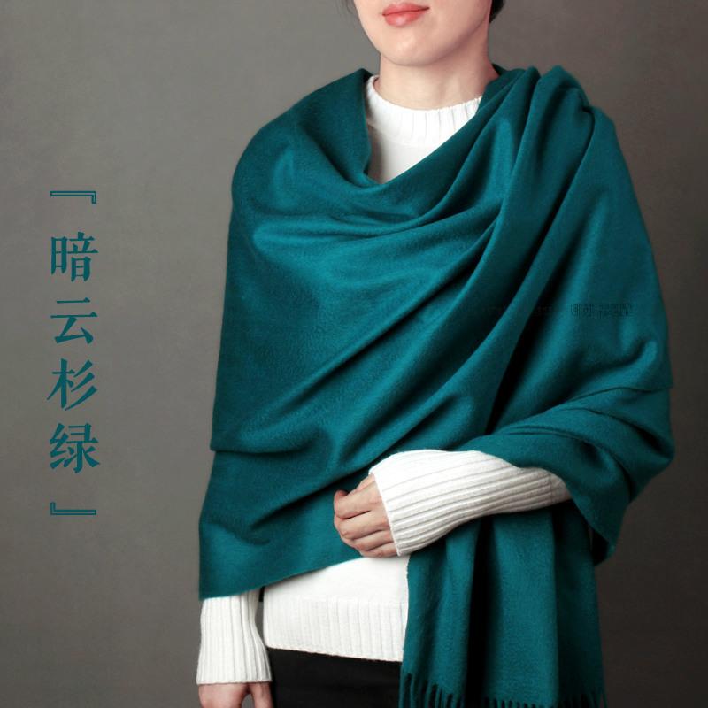 美色~加厚羊毛围巾女羔羊绒大披肩两用秋冬季保暖纯色暗云杉绿色