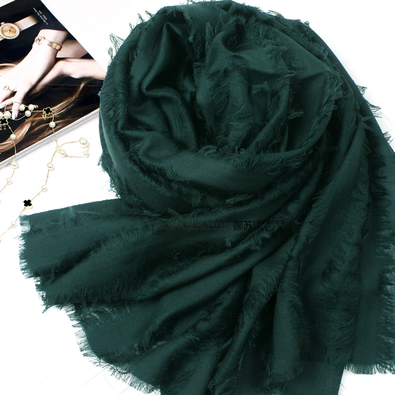 Personalized fashion loose beard pure color wool scarf womens spring and autumn thin shawl autumn and winter long versatile black green