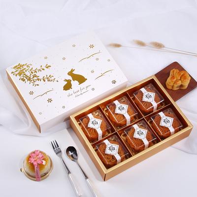 63-80克烫金中秋玉兔蛋黄酥礼盒 月饼包装盒饼干雪媚娘盒4/6粒装