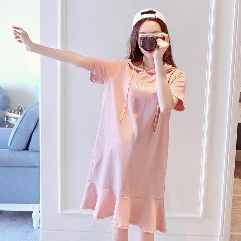 孕妇T恤中长款夏季短袖薄款时尚宽松休闲半袖体恤孕妇装夏装上衣