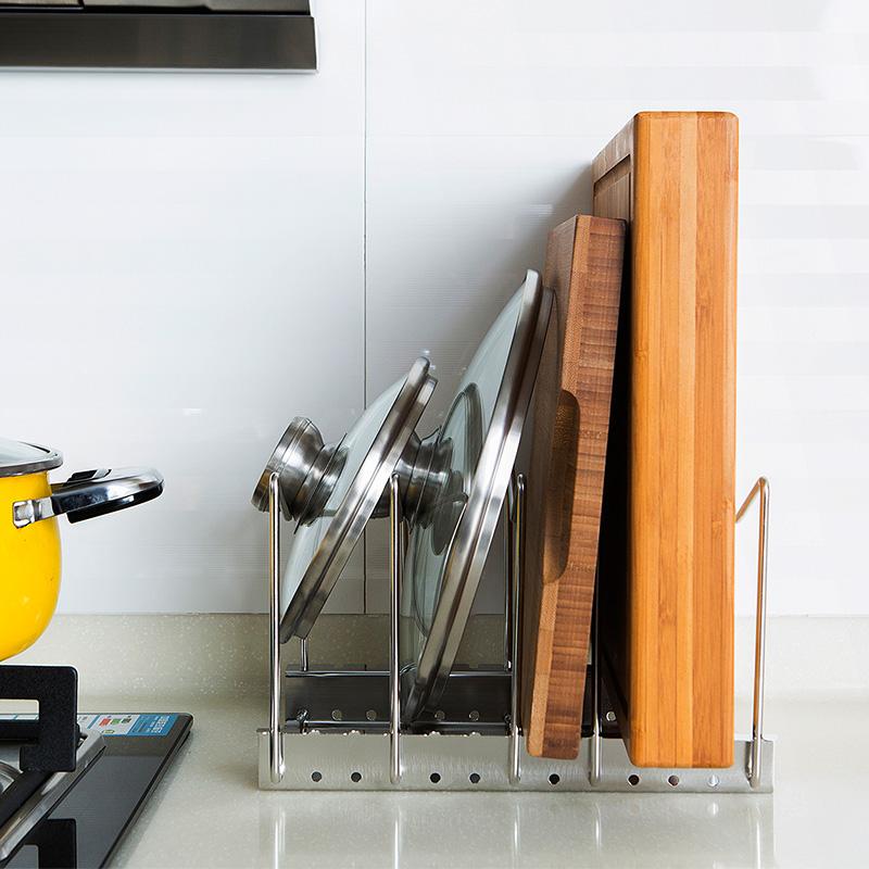 不鏽鋼鍋蓋架多 砧板架菜板座餐具用品收納鍋架廚房置物架