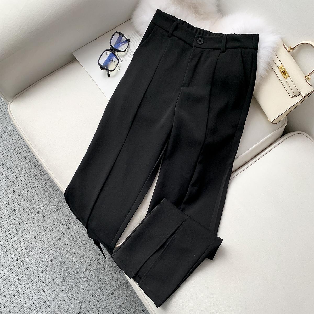 【春上新】本千家2021新款休闲直筒开叉宽松西装裤
